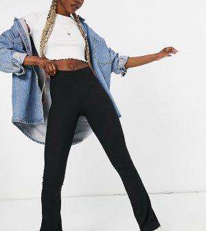 Зауженные брюки с расклешенными штанинами в рубчик -Черный цвет Topshop Tall