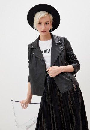 Куртка кожаная Boss C_Sajuana1. Цвет: черный