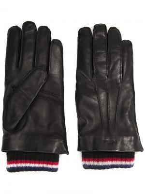 Перчатки с трикотажными вставками Thom Browne. Цвет: чёрный