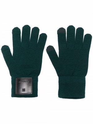 Шерстяные перчатки с нашивкой-логотипом Givenchy. Цвет: зеленый