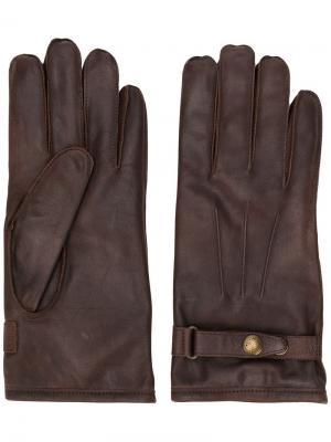 Перчатки с ремешком пряжкой Belstaff. Цвет: коричневый