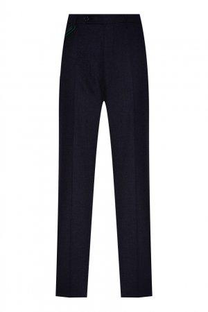 Темно-синие классические брюки из тонкой шерсти Berwich. Цвет: синий