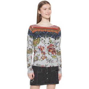 Пуловер с вырезом-лодочкой и цветочным рисунком DESIGUAL. Цвет: серый/ наб. рисунок