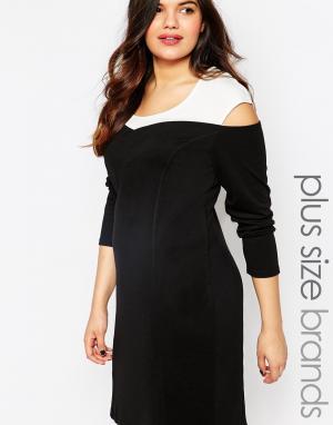 Облегающее платье с длинными рукавами и контрастным плечами Junarose
