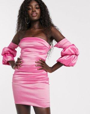 Розовое атласное платье мини с объемными рукавами -Розовый Bardot