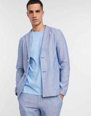 Сине-белый повседневный приталенный пиджак с добавлением льна -Темно-синий ASOS DESIGN