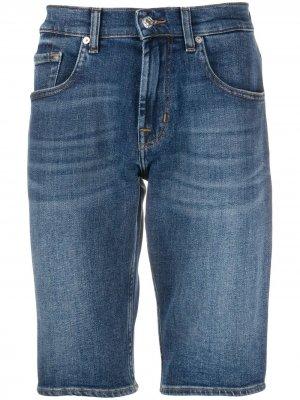 Джинсовые шорты узкого кроя 7 For All Mankind. Цвет: синий
