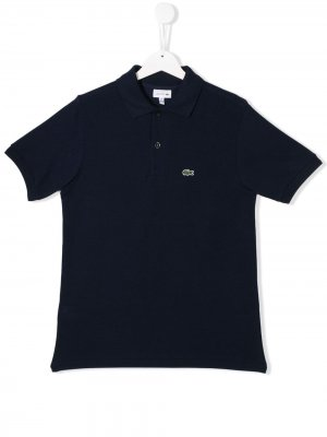 Рубашка-поло с вышитым логотипом Lacoste Kids. Цвет: синий