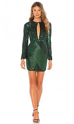 Вечернее платье с блёстками длинный рукав adalyn Michael Costello. Цвет: темно-зеленый