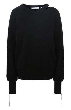 Пуловер из смеси хлопка и шерсти Helmut Lang. Цвет: черный