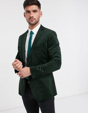 Бархатный приталенный пиджак с острыми лацканами -Зеленый цвет French Connection