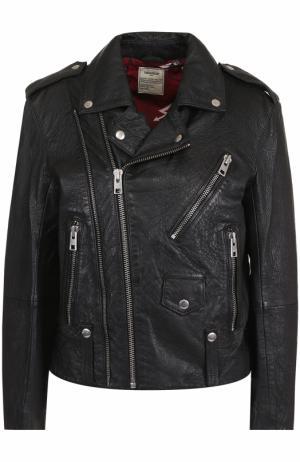 Кожаная куртка прямого кроя с косой молнией Zadig&Voltaire. Цвет: черный