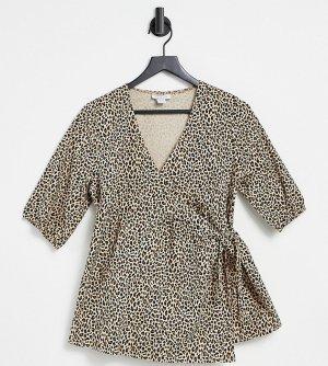 Светло-коричневая блузка с запахом, объемными рукавами и звериным принтом -Коричневый цвет Topshop Maternity