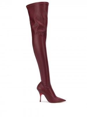 Ботфорты с заостренным носком Rochas. Цвет: красный