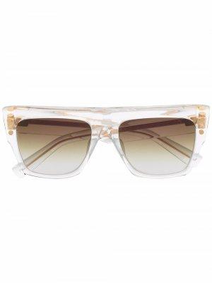 Солнцезащитные очки Bi в квадратной оправе Balmain Eyewear. Цвет: белый
