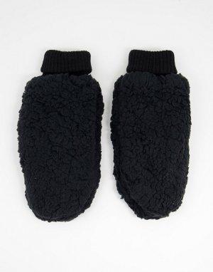 Черные варежки с искусственным мехом -Черный цвет SVNX
