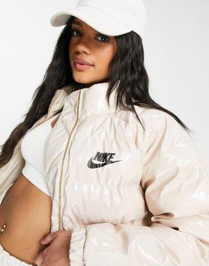 Кремовый лакированный пуховик Nike