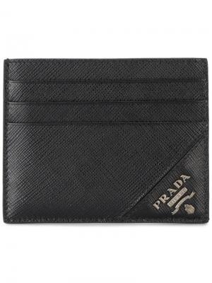 Классическая визитница Prada. Цвет: черный