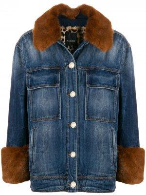 Джинсовая куртка с отделкой из искусственного меха Pinko. Цвет: синий