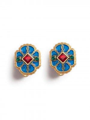 Эмалированные запонки Dolce & Gabbana. Цвет: синий