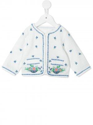 Жакет Gauze с вышивкой Stella McCartney Kids. Цвет: белый