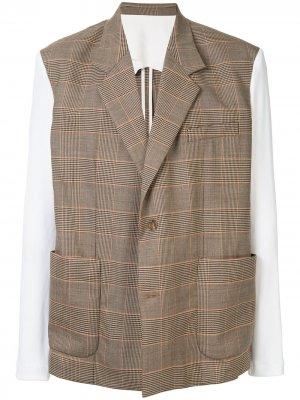Пиджак в клетку Botter. Цвет: коричневый