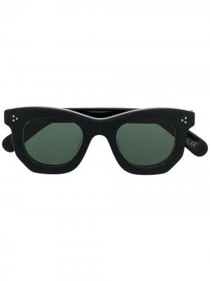 Солнцезащитные очки в геометричной оправе Lesca. Цвет: черный