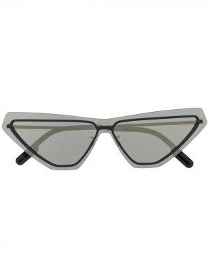 Солнцезащитные очки в геометричной оправе Kenzo. Цвет: черный