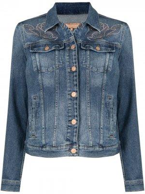 Джинсовая куртка с кристаллами 7 For All Mankind. Цвет: синий