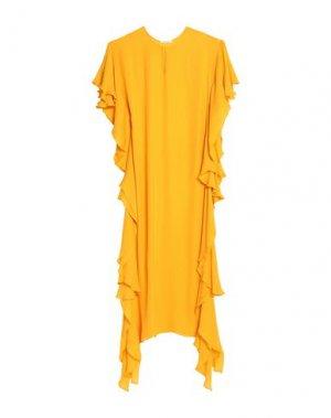 Длинное платье OSCAR DE LA RENTA. Цвет: охра