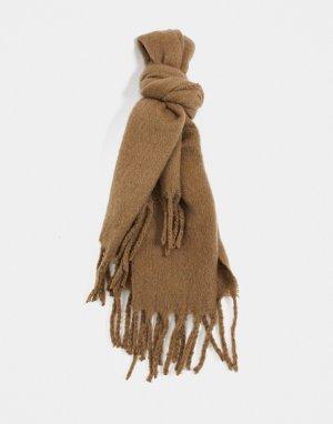 Бежевый фактурный шарф-одеяло -Коричневый цвет ASOS DESIGN