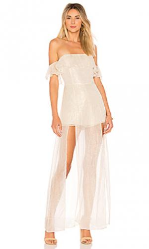 Макси платье с открытыми плечами betina ale by alessandra. Цвет: белый
