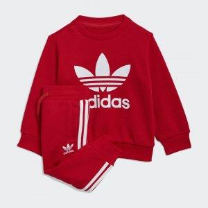 Комплект: джемпер и брюки Crew Originals adidas. Цвет: белый