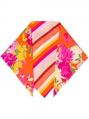Полосатый платок с цветочным принтом Gianluca Capannolo. Цвет: оранжевый
