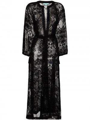 Кружевной кафтан Yasmin Melissa Odabash. Цвет: черный