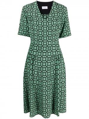 Платье с декором Gancini и принтом Galoure Salvatore Ferragamo. Цвет: зеленый