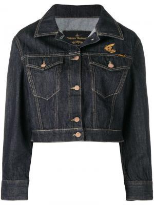Укороченная джинсовая куртка с логотипом Vivienne Westwood Anglomania. Цвет: синий