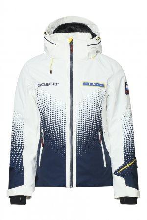 Белая горнолыжная куртка с геометричным узором Bosco. Цвет: белый
