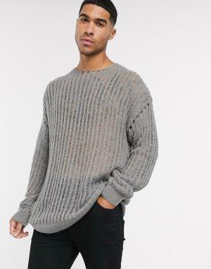 Серый свободный свитер ASOS DESIGN