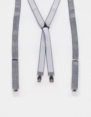 Строгие подтяжки с серой текстурой -Черный ASOS DESIGN
