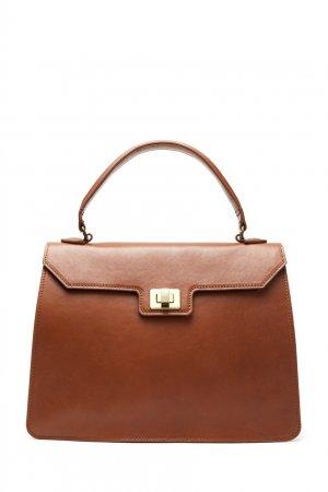 Коричневая кожаная сумка трапеция LAROOM. Цвет: коричневый