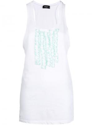 Frill-embroidered tank top Dsquared2. Цвет: белый