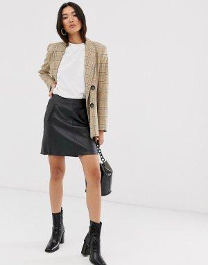 Кожаная черная мини-юбка с карманами Femme-Черный Selected