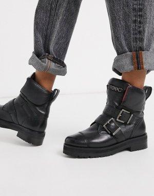 Кожаные ботинки с пряжками -Черный Bronx