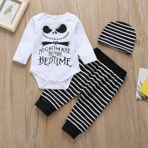 Боди с оригинальным принтом & спортивные брюки и шапка SHEIN. Цвет: черный и белый