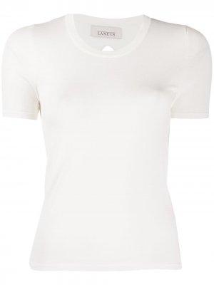 Укороченная футболка с завязками Laneus. Цвет: белый