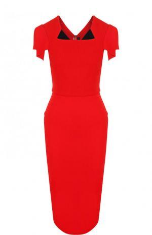 Однотонное платье-футляр с коротким рукавом Roland Mouret. Цвет: красный