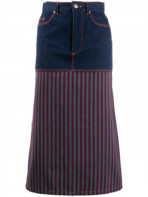 Джинсовая юбка 1990-х годов с полосками Jean Paul Gaultier Pre-Owned. Цвет: синий