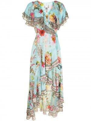 Платье с оборками и цветочным принтом Camilla. Цвет: синий