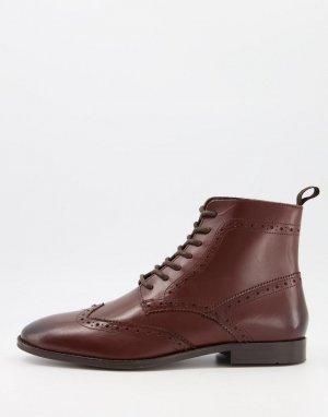 Коричневые кожаные броги с черной подошвой -Коричневый цвет ASOS DESIGN